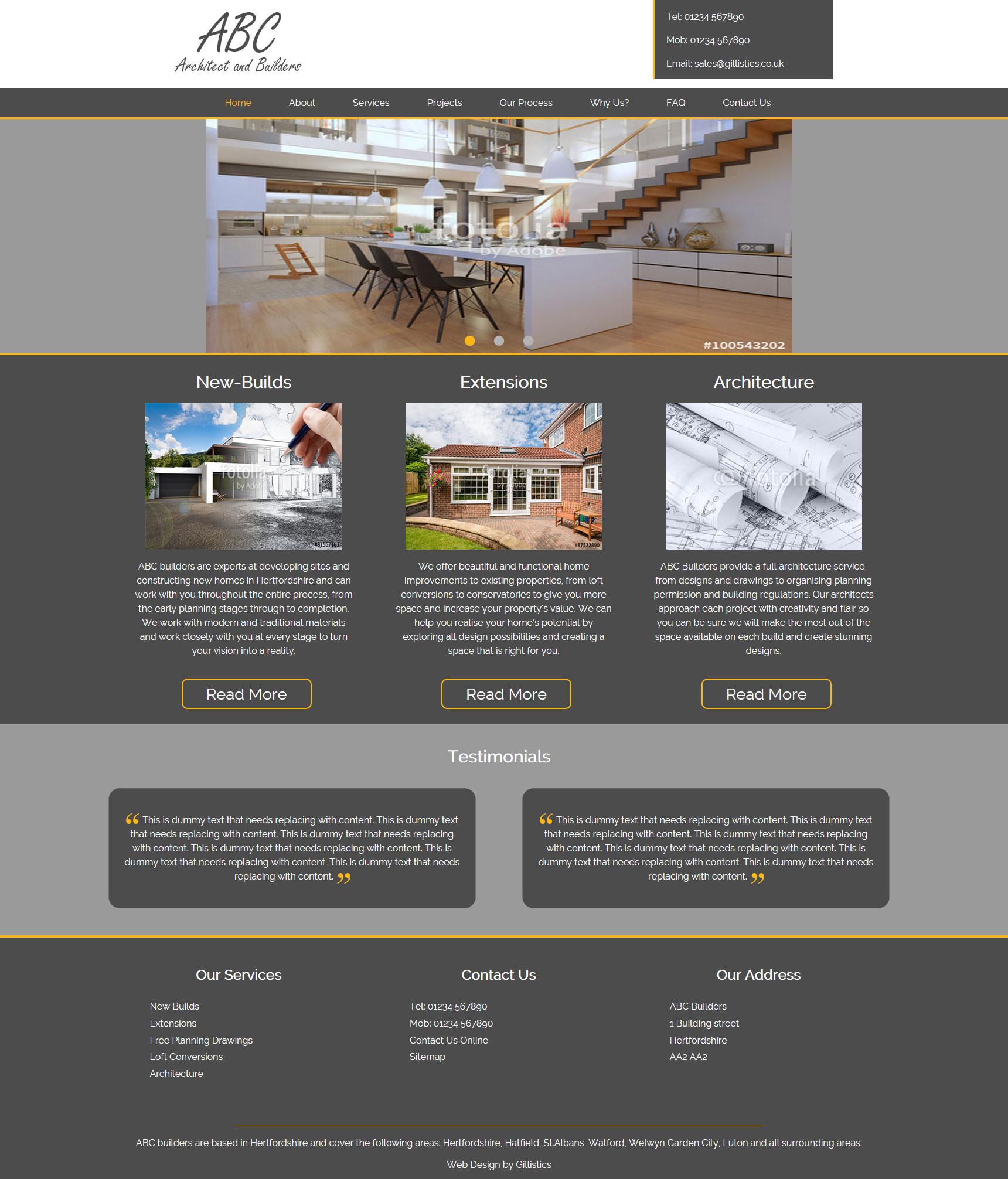 Portfolio Gillistics Abc Builders Bespoke Web Design In St Albans Hertfordshire